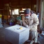 墓相の石塔を制作中です。施工場所は高崎市八幡霊園です。