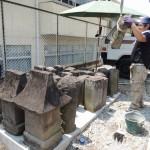 高崎市のお寺様にて、古石塔の移転工事です。