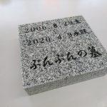 高崎市の60代男性からのご依頼で、ペットのお墓を、在庫石材を使って製作しました。文字彫刻も、自分で作業しました。